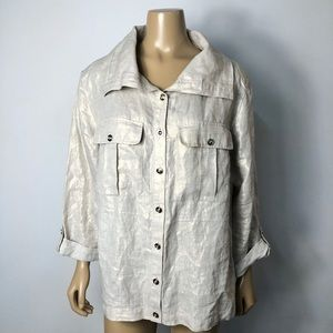 Chico's women's linen button down roll tab sleeve